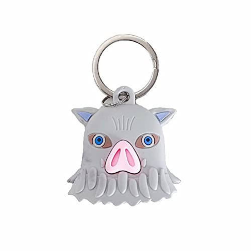 Cartoon Silicone Case for Airtag 2021, Protective Tracker Cover Finder Holder Kawaii Anime Design with Keychain Compatible with Apple AirTag Case - Demon Slayer