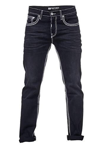 Rusty Neal Herren Jeans Hose Schwarz Dicke naht Weiß Stretch Jeanshose Gerades Bein -7, Hosengröße:34/32