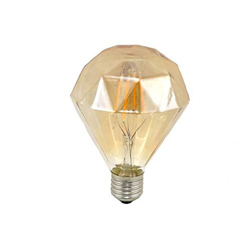 LED 4W E27 Bombillas Filamento, Iluminación Vintage LED 4W Edison Caliente 3000K Diamante