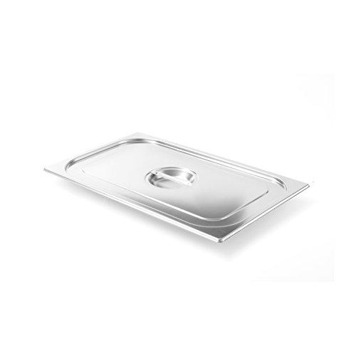Hendi Gastronorm Deckel, für Gastronormbehälter, temperaturbeständig von -40° bis 300°C, Heissluftöfen-Chafing Dishes-Bain Marie, Stapelbar, GN 1/2, 265x325mm, Edelstahl