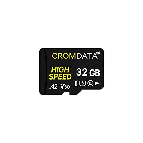CROMDATA 32GB - Tarjeta de Memoria Micro SDXC UHS-I A2 - de 32GB, Velocidad de Lectura hasta 60 MB/s, Tarjeta TF para Móvil, Cámara Deportiva, Switch, Tableta, Dashcam