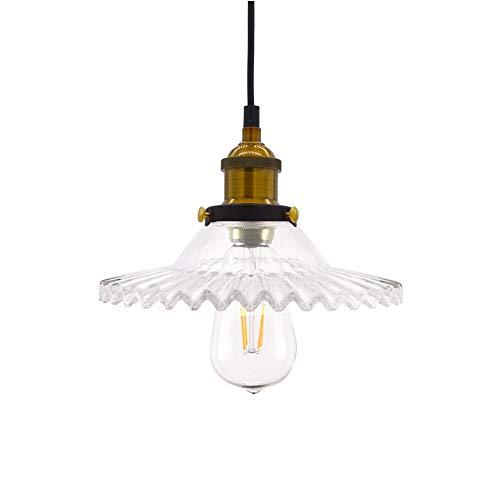 Huahan Haituo Industrial Vintage colgante lámpara de cristal pantalla de vidrio retro lámpara de suspensión de la lámpara de techo lámpara colgante lámpara de luz colgante (transparente)