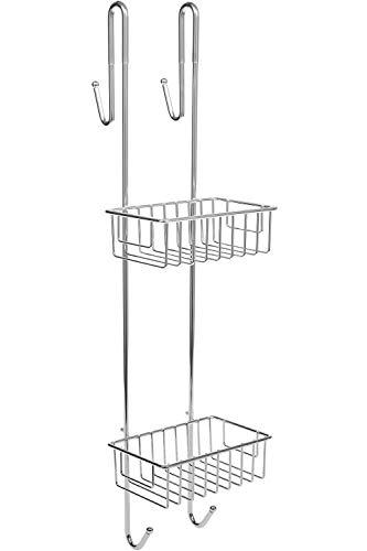 Etagère de Douche – A Poser sans percer – Rangement de Douche Suspendu avec 2 paniers 2 Crochets 2 Portes Serviettes – pour Douche avec paroi ou Porte vitrée (Acier chromé, 70 x 18,5 x 19 cm)