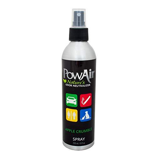 PowAir Spray – Neutralizzatore di cattivi odori agli oli essenziali. Agisce in ambienti chiusi rimuove gli odori da armadietti, scarpiere, borse, bauletti, auto. Profumazione Apple Crumble | 250 ml