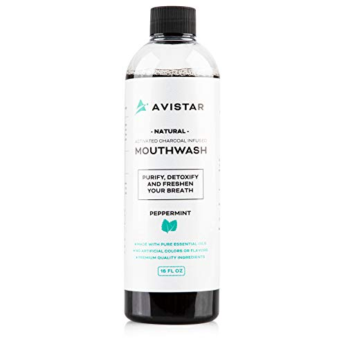 Avistar Natural Activated Charcoal Mouthwash: Black Charcoal Whitening Mouthwash - Alcohol and Fluoride Free Oral Rinse for White Teeth, Fresh Breath and Healthy Gums - Peppermint Flavor, 16 Fl Oz