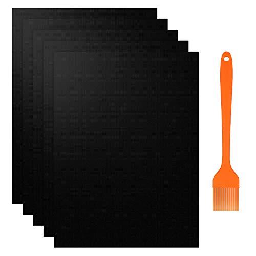 Feizhibo BBQ Grillmatte, 5er Set Backmatte und BBQ Antihaft Wiederverwendbar Grillmatte für Holzkohlegrill, elektronischen Grill, Backofen