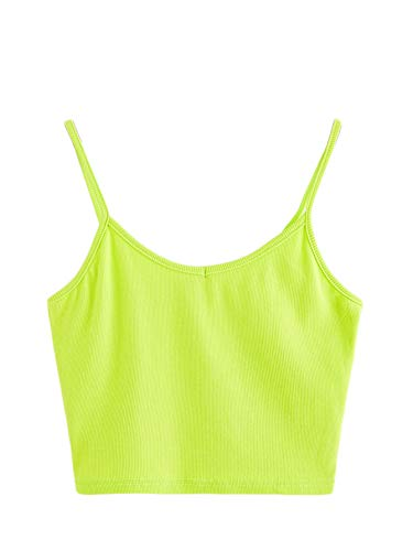 SheIn Women's Casual V Neck Sleeveless Ribbed Knit Cami Crop Top Bright Green