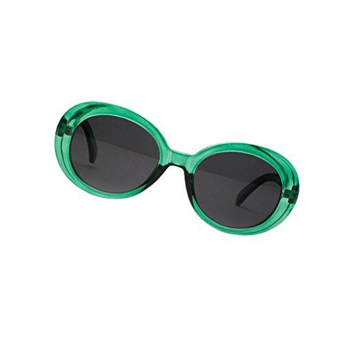 Bonarty Retro Clout Goggles Oval Mod Gafas de Sol con Montura Gruesa Gafas para Mujeres Hombres - Blanco/Verde Oscuro - Verde