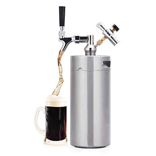 Barriles de cerveza de acero inoxidable, sistemas portátiles de barriles de cerveza domésticos, sistemas de elaboración de cerveza con kits de grifos ajustables para el almacenamiento y dis(Size:5L)