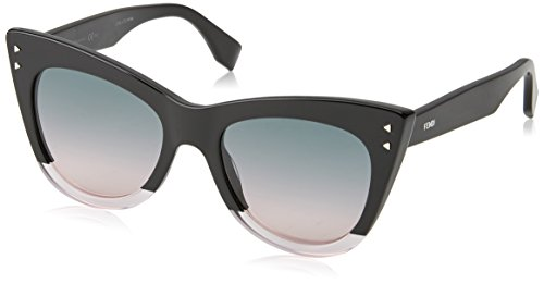 FENDI Damen FF 0238/S JP 3H2 52 Sonnenbrille, Schwarz (Black Pink/Green Pink)