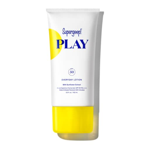 Supergoop! PLAY Everyday Lotion, 5.5 oz - SPF 50 PA++++ Reef-Safe, Broad Spectrum, Body & Face Sunscreen for Sensitive Skin - Water & Sweat Resistant - Clean Ingredients - Great for Active Days