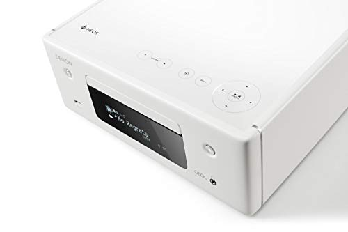 Denon RCD-N10 Kompaktanlage, HiFi Verstärker, CD-Player, Internetradio, Musikstreaming, HEOS Multiroom, Bluetooth & WLAN, AirPlay 2, Alexa Kompatibel, 2 Optische TV-Eingänge, ohne Lautsprecher, weiß