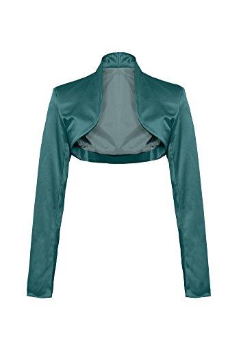 GIOVANI & RICCHI Eleganter Langarm Satin Bolero Jacke 34 36 38 40 42 44 in Mehreren Farben