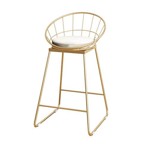 ZRXian-Tabourets Mode Fer Forgé Support Tabouret Cuisine Tabouret Petit Déjeuner Chaise avec Dossier Jambes Or Blanc Éponge Tampon Design (Taille Assise: 65 / 75CM) (Taille : 65cm)