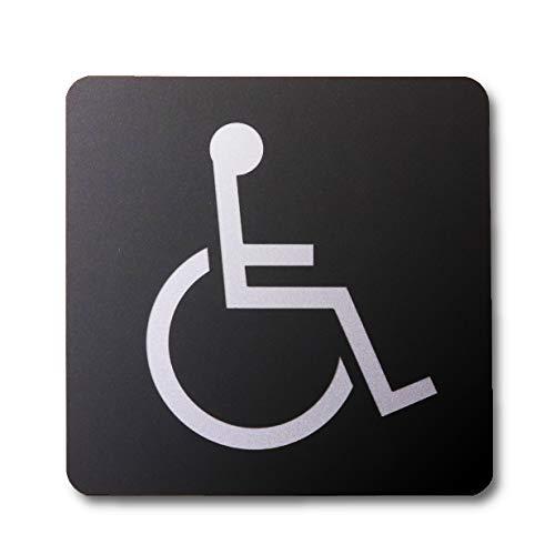 サインプレート 150角 車いす 車椅子 PC製 艶消しブラック トイレ 多目的トイレ toilet 日本製 屋外対応 シール式