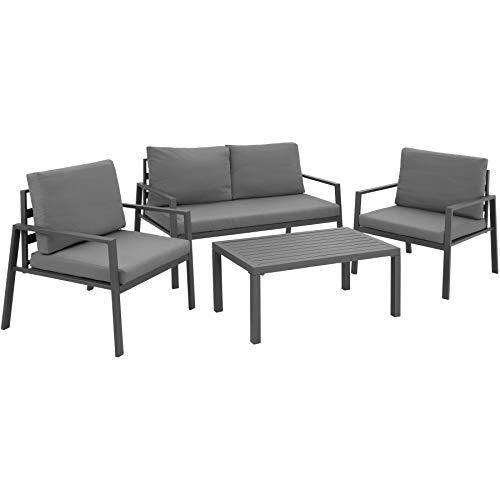 TecTake 403904 Aluminium Lounge Sitzgruppe für Garten, Balkon und Terrasse, wetterfest, 2 Sessel 1 Sofa 1 Tisch Set, inkl. Wasserabweisende Sitz- und Rückenkissen, grau