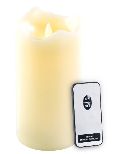 Britesta Kerze mit Fernbedienung: Echtwachskerze mit beweglicher LED-Flamme & Fernbedienung, L (LED Kerze Fernbedienung)