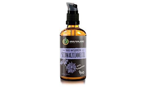 Kräuterland Schwarzkümmelöl, Bio Hautöl, 100ml, kaltgepresst, 100% naturrein, für Gesichts- und Körperpflege, Massageöl, gegen Falten, trockene Haut und Anti-Aging (Schwarzkümmelöl 100ml)
