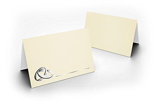 100 tafelkaarten/delicate crème dubbele ringen zilver/voor kerst/oudejaar/bruiloft/verjaardag/jubileum/als tafeldecoratie/formaat/8,5 x 11,2 cm/850 mm x 1120 mm