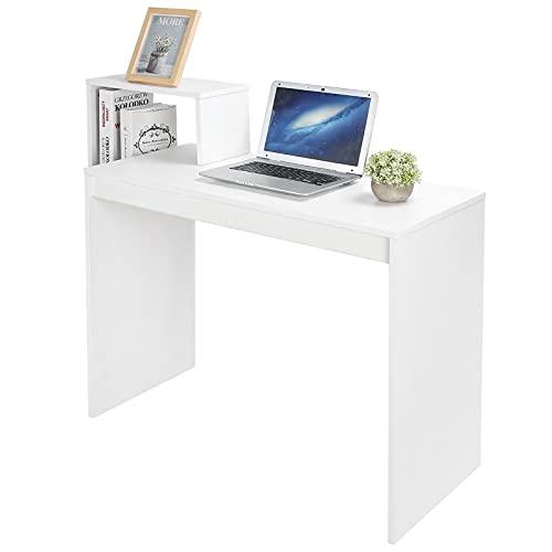 Zerone Escritorio de Ordenador Minimalista, Mesa de Estudio Rectangular Compacta para Casa Oficina, Blanca 71 x 90 x 40 cm