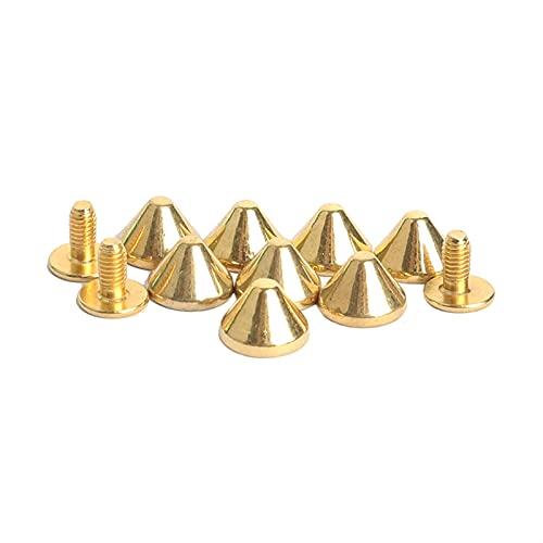 Remaches de metal 100 unids 9x6mm Golden Flat Cono Aleación Spike Tachuelas Punk Spike Featraft Rivets DIY Cuero Studs Punk Accesorios reparado (Color : Gold)
