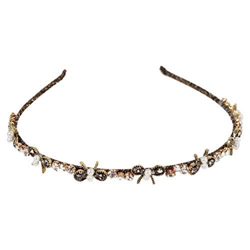 Minkissy strass parel hoofdband barok haar banden Royal King Kroon Tiara Vintage haaraccessoires voor vrouwen Dames Meisjes (patroon 3)