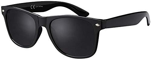 La Optica Original UV400 CAT 3 CE Unisex Sonnenbrille - Farben, Einzel-/Doppelpacks, Verspiegelt, Einzelpack Glänzend Schwarz (Gläser: Grau), 53