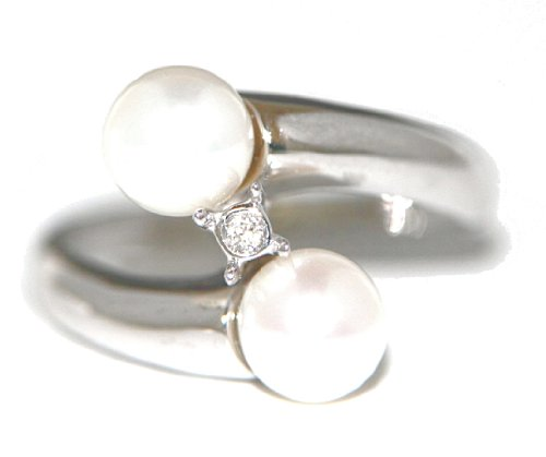 Mia Gioielli - anillo de 18 quilates de oro blanco con perlas de agua dulce cultivadas Ø 6.5-7.00 mm y Diamantes cts 0.015 G/VS, Talla 16, F-01251-0B01