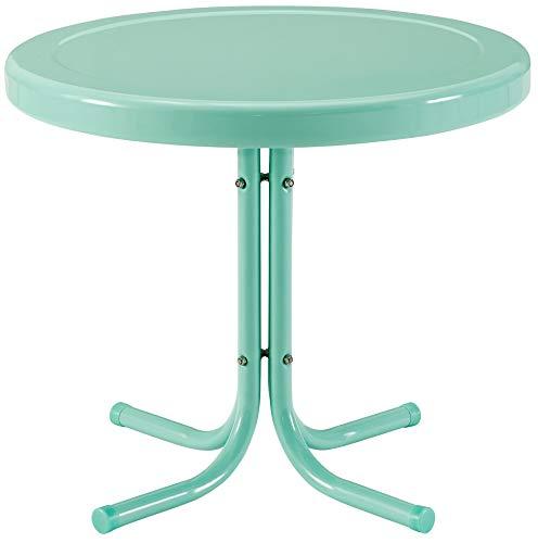 Crosley Furniture CO1011A-AQ Griffith Retro Metal Outdoor Side Table, Aqua