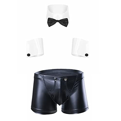 Yeahdor Herren Sexy Dessous Kostüme Kellner Barkeeper Ober Kostüm Boxer Shorts Slip + Hosenträger + Armbänder + Fliege Erotik Nachtclub Cosplay Schwarz Weiß B XL