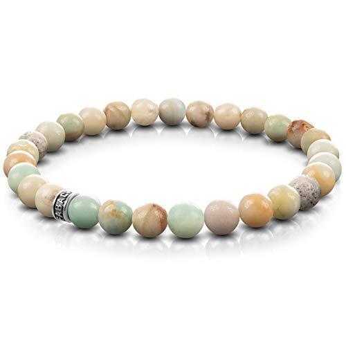 FABACH Amazonit Perlenarmband mit 6mm Edelstein-Perlen und 925 Sterling Silber Logo-Perle - Edles Naturstein Stretch-Armband für Damen (Mehrfarbig Türkis)