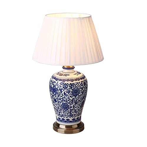 Lámpara de mesa Lámpara de mesa tradicional y decoración cilíndrica geométrica de porcelana blanca para sala de estar dormitorio casa de noche. Lámpara de noche