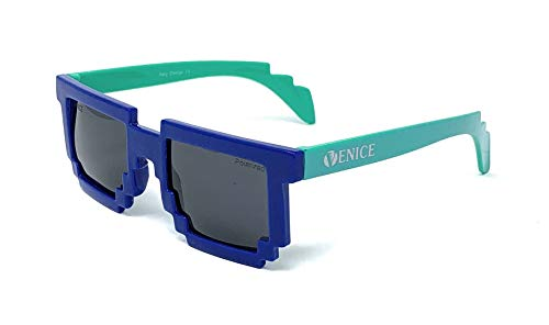 VENICE EYEWEAR OCCHIALI Gafas de sol Pixel Polarizadas para niño (Azul-Verde)