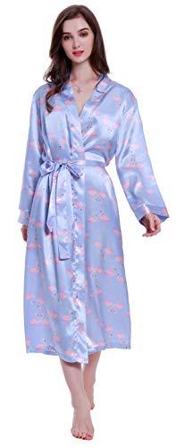 Lavenderi Damen Satin Kimono Bademantel Bademantel Gr. 36, Flamingos