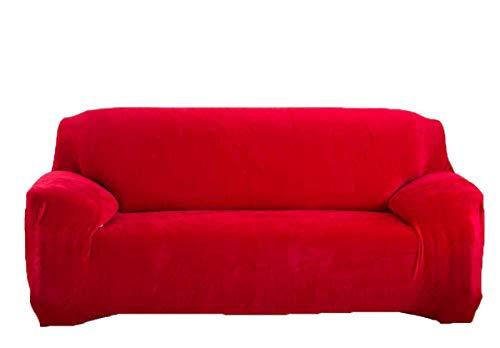 tifee Grueso del sofá Cubre 1/2/3/4 plazas Pure Color Sofá Protector Terciopelo Easy Fit elástico Tejido elástico Funda Sofá 3 Seater:195-230cm Rojo
