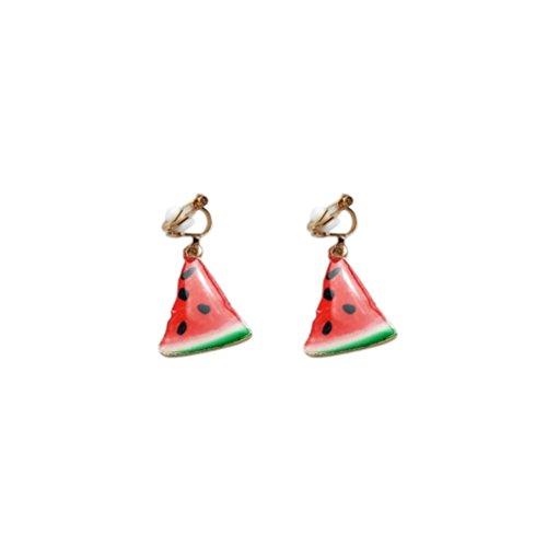 BESTOYARD Cute Fruit Watermelon Earrings Trendy Triangle Mini Earrings Ear Clips for Women Girls