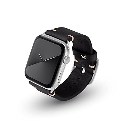 JT Berlin Alex Vintage - Correa para Apple Watch 42 mm/44 mm, correa de piel [Watch SE, Series 6/5/4/3/2/1, correa de repuesto de cuero suave, cierre de acero inoxidable] negro (talla S/M)