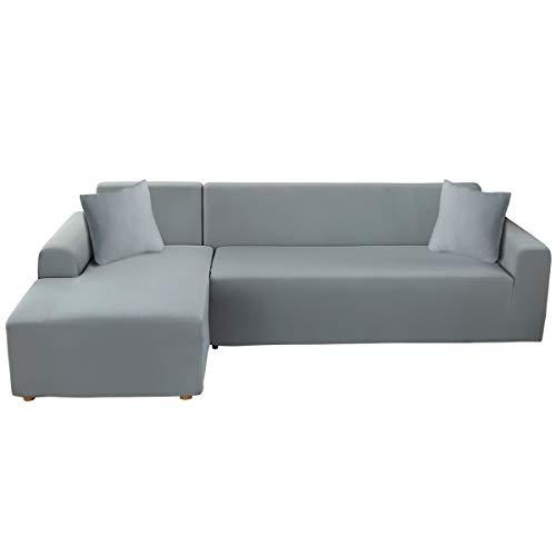 ele ELEOPTION - Funda de sofá elástica, Conjunto de 2 Fundas, para sofá de 3 Personas en Forma de L, Incluye 2 Fundas de cojín, Gris 2