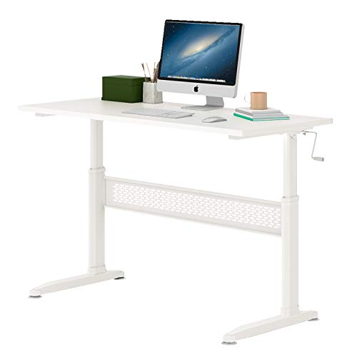DEVAISE Adjustable Height Standing Desk Sit Stand Up Desk Workstation 55 Inch with Crank Handle for Office Home, White