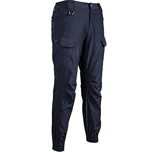 Pantalones de Carga Verano Ciudad Secado rápido tácticos Especiales al Aire Libre Militar de Combate Pantalones de Trabajo (Negro,40)