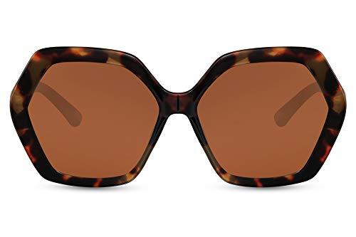 Cheapass Sunglasses - Gafas de sol de gran tamaño, cuadradas, con bordes gruesos, de leopardo con lentes degradados marrones, protección UV400, elegancia moderna para mujer