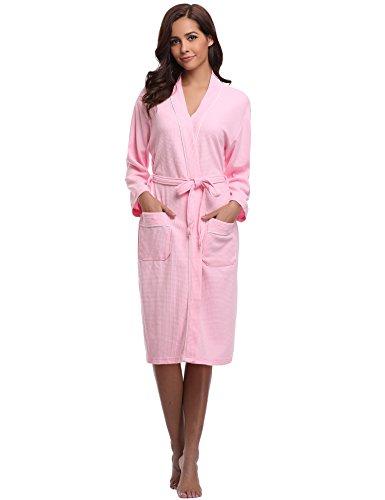 Aibrou Femme Homme Kimono Tissage Gaufré Peignoir de Bain Unisexe Coton Waffle Robe de Chambre col V Pyjama pour l'hôtel Spa Sauna Vêtements de Nuit,XL,Bleu-Bleu