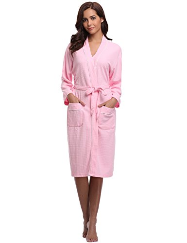 Aibrou Unisex Waffle Dressing Gown Cotton Lightweight Bath Robe for Spa Hotel Sleepwear Pink