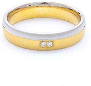 Breuning 18K White/Yellow Matte & Shiny Finish 0.02ct Round cut Diamond Wedding Ring [BR6229]