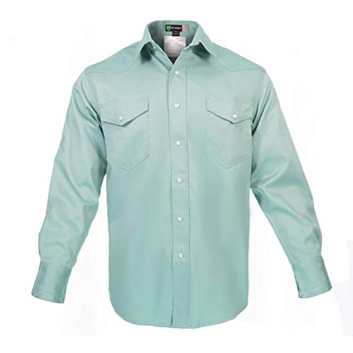 Flame Resistant FR Shirt - Heavy Weight - 100% C - 9 oz (Small, Welders Green)