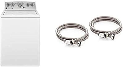 Kenmore 2622352 4.2 cu. ft. Total Capacity and Top Load Washer, White & Washing Machine Hoses Burst Proof 6 Ft Stainless Steel Braided - 2 Pack