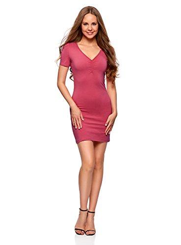 oodji Ultra Damen Enges Kleid mit V-Ausschnitt, Rosa, DE 38 / EU 40 / M