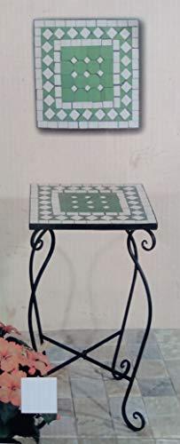 TLW direkt Marokkanischer Mosaik-Tisch grüne Tischplatte aus Steinzeug mit geschwungenem Metallgestell ca. 35x35x60cm