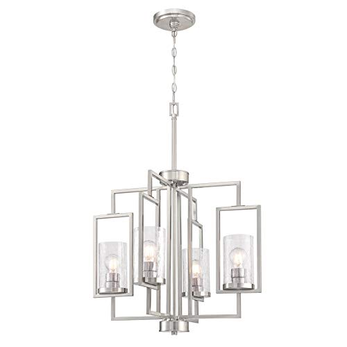 Westinghouse Lighting 6576500 Kayla Four-Light Indoor Chandelier, Brushed Nickel Finish with Clear Crackle Glass