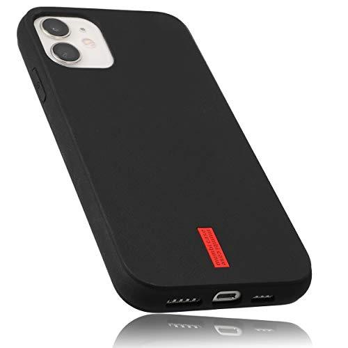 mumbi Hülle kompatibel mit iPhone 12 / iPhone 12 Pro Handy Hülle Handyhülle, schwarz mit rotem Streifen